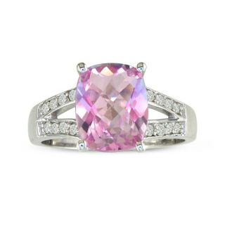 10k White Gold Pink Topaz and 1/6ct TDW Diamond Ring (I J, I2 I3