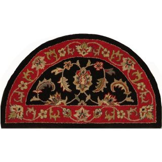Shapes Black Half round Wool Rug (23 x 310)