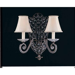 Grand 2 Light English Bronze Silk Shade Wall Sconce See Price in Cart