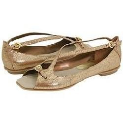 Nine West Torts Light Gold Leather Flats