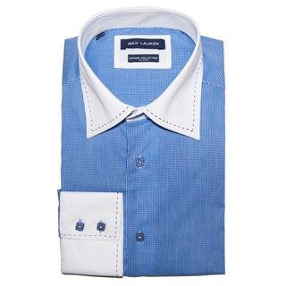 Max Lauren by BRIO Mens Blue Checkered Cotton Dress Shirt