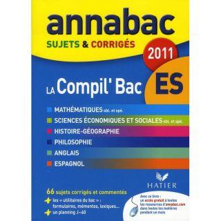 SCOLAIRE   ETUDIANT Annabac Corriges; compilation bac ES (édition 2