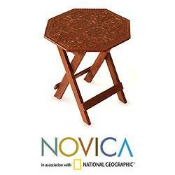 Mohena Wood and Leather Sunflower Octagon Accent Table (Peru
