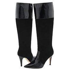 Kate Spade Lyric Black Suede/Black Patent Boots