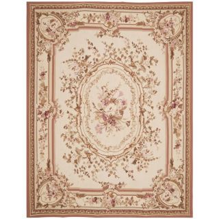 Hand knotted French Aubusson Ivory Wool Rug (6 x 9)
