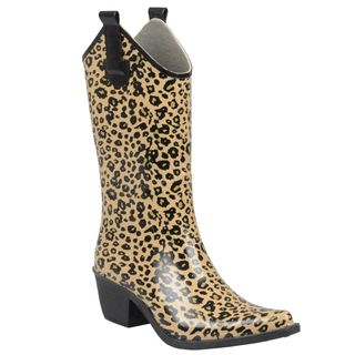 Journee Collection Womens Leopard Print Cowboy Rainboots