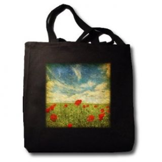 Grunge Poppies against the Sky   Black Tote Bag 14w X 14h