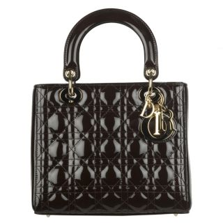 Christian Dior Lady Dior Patent Leather Quilted Handbag