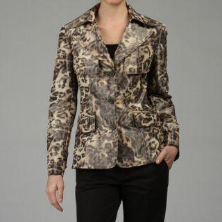 Lafayette 148 Womens Blurred Leopard Barlow Jacket