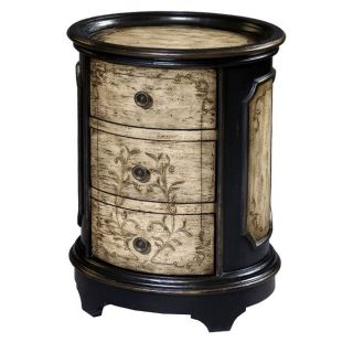 Hand painted Black/ Beige Round Accent Chest