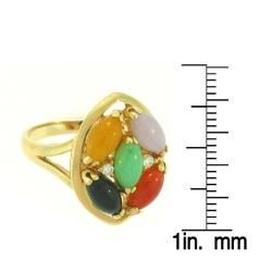 Mason Kay 14k Gold Multi colored Jadeite and Diamond Accent Ring