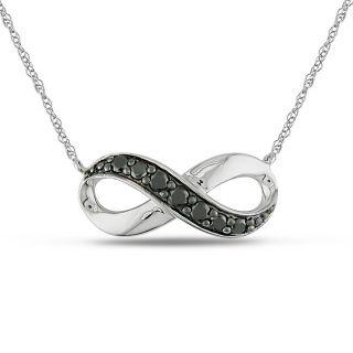Miadora 10k White Gold 1/4ct TDW Black Diamond Infinity Necklace