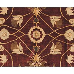 Pakistani Hand knotted Vegetable Dye Oushak Burgundy Rug (1010 x 145