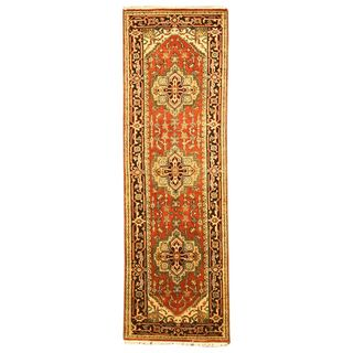 Hand knotted Serapi Red Wool Rug