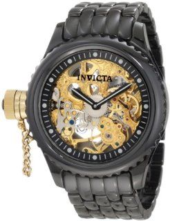 Invicta Mens 1924 Russian Diver Mechanical Gold Tone Skeleton Dial