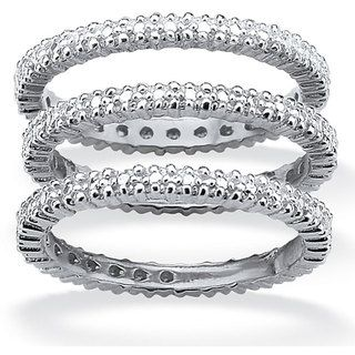 Isabella Collection Gold over Silver Diamond Accent 3 piece Eternity