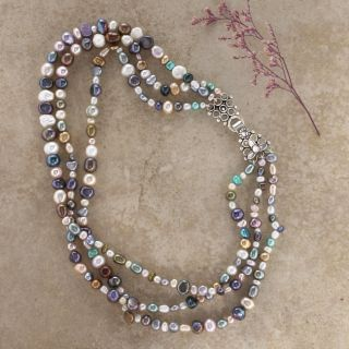 Sterling Silver Kaleidoscope Pearl Necklace (India)