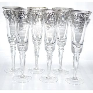 Italian Silver Accented Royal Floral Champagne Flutes (Set of 6