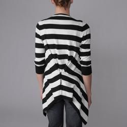 XOXO Womens Striped Shawl Neck Open Front Cardigan