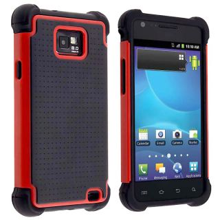 Black/ Red Hybrid Armor Case for Samsung Galaxy S II AT&T i777 Attain