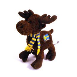 Plush 8 Swedish Moose with Scarf and Flag: Toys & Games