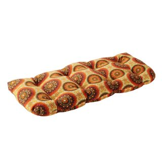 Pillow Perfect Outdoor Brown/ Orange Circles Loveseat Cushion