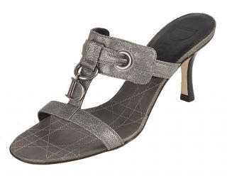 Christian Dior Silver Leather Cannage Logo Sandal