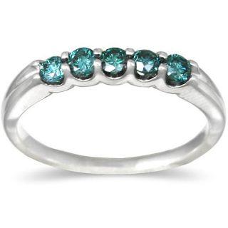 14k White Gold 1/2ct TDW Blue Diamond 5 stone Band