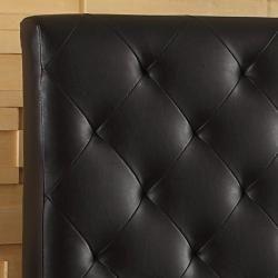 Sophie Dark Brown Vinyl Tufted King size Platform Bed