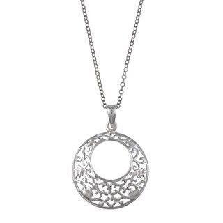 La Preciosa Sterling Silver Diamond cut Filigree Necklace