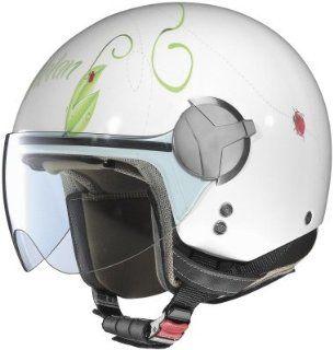 Nolan Womens N20 Open Face Motorcycle Helmet   Art Ladybug   White