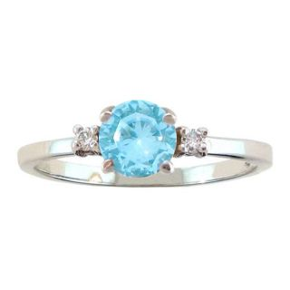 10k Gold March Birthstone Sky Blue Topaz/ Diamond Ring