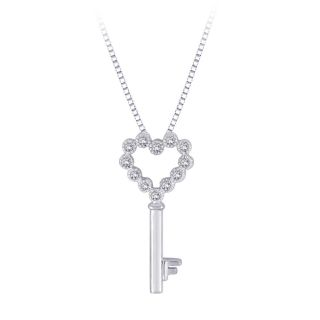 10k White gold 1/10ct TDW Diamond Key/ Heart Shaped Necklace (G H, I2