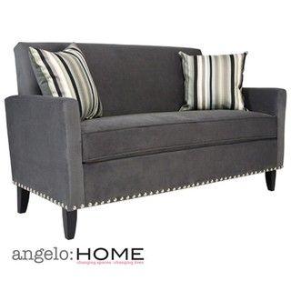 angeloHOME Sutton Antique Silver Grey Sofa with Stripe Pillows