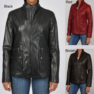 Tibor Womens Plus Size Updated Scuba Leather Jacket