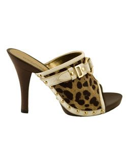 Dolce & Gabbana Womens Leopard Wood Mules