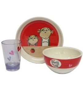 Charlie and Lola, 3 Piece Melamine Kids Dinnerware Plate