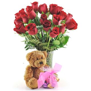 Valentines Day Pre order) Two Dozen Red Roses with Godiva Truffles