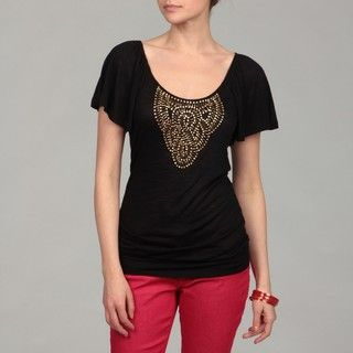 Cable & Gauge Womens Black Beaded Flutter Sleeve Top