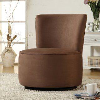 Aiden Round Fabric Swivel Chair  Brown