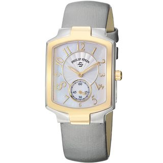 Philip Stein Womens Signature Mother Of Pearl Dial Grey Strap Watch