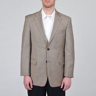 Tommy Hilfiger Mens Trim Fit Tan Sharkskin Suit Jacket