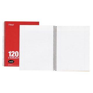 Spiral Notebook,3 Sbjct,College Rule, 3 HP,150 Sht,9 1/2x6 (bulk