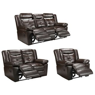 Tex Espresso Brown Italian Leather Reclining Sofa, Loveseat and Chair