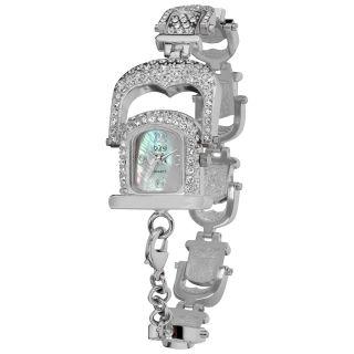 Burgi Womens Mother of Pearl Crystal Bracelet Watch