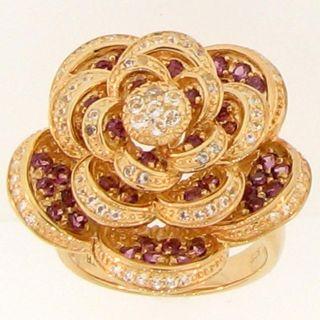 Meredith Leigh Vermeil Rhodolite and White Topaz Flower Ring