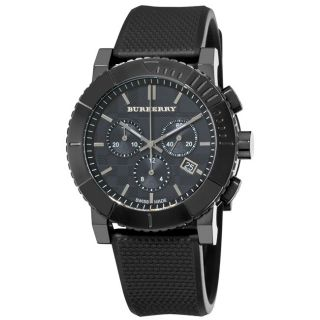 Burberry Mens Round Chronograph Black Ion Plated Watch