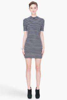 T By Alexander Wang Navy And White Striped Short Sleeve Dress for women
