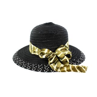 Faddism Womens Black Bow Detail Sun Hat