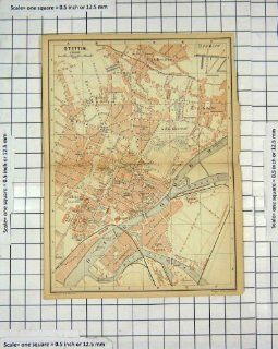 Antique Map Germany Street Plan Stettin Bredow Oder Home